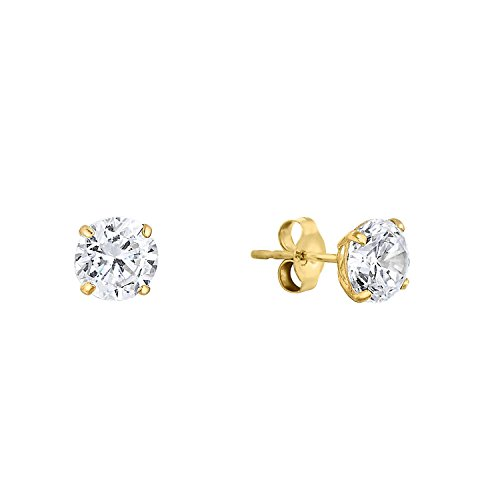 14k Yellow Gold Solitaire Round Cubic Zirconia CZ Stud Earrings with Gold butterfly Pushbacks (4mm) -