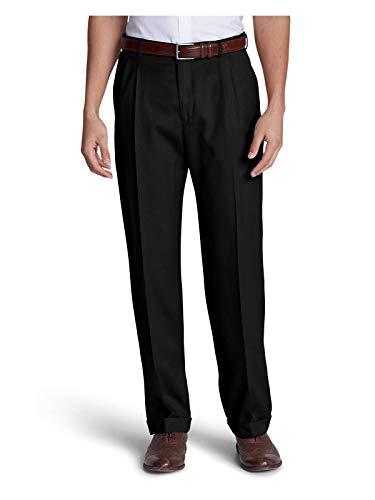 (Eddie Bauer Men's Wool Gabardine Trousers - Pleated, Black Regular 35)