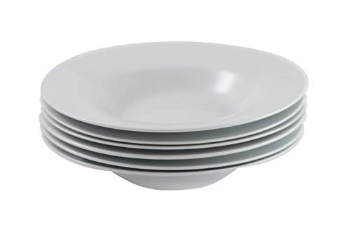 Professional Gourmet Porcelain Dinner Plate- Set of 6 (Pasta Plate) -