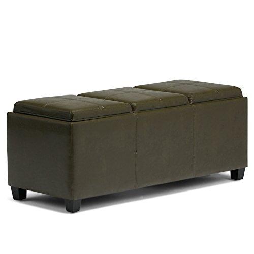 Simpli Home 3AXCAVA-OTTBNCH-02-GR Avalon Storage Ottoman in Deep Olive Green Faux Leather (Ottoman Green Leather)