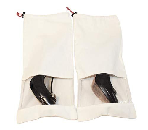 Earthwise Shoe Storage Bags 100% Cotton with Drawstring & Clear Window Made in the USA (Set of 4) by Earthwise (Image #4)