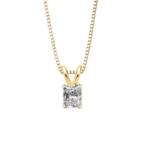 1.01 ct. I - SI1 Radiant Cut Diamond Solitaire Pendant with Chain in 14K Yellow Gold (Radiant Si1 Solitaire Diamond)