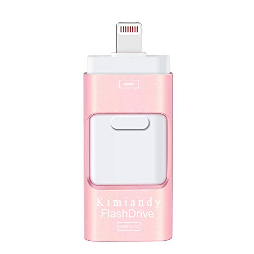 USB Flash Drive 128G Compatible iPhone iPad, HHAPPINESS USB3.0 Flash Drive Encrypted Memory Stick Jump Thumb Drive Compatible Android iPhone iPad PC, High Speed & Easy Transfer Pen Drive (128G Pink) (Backup Iphone)