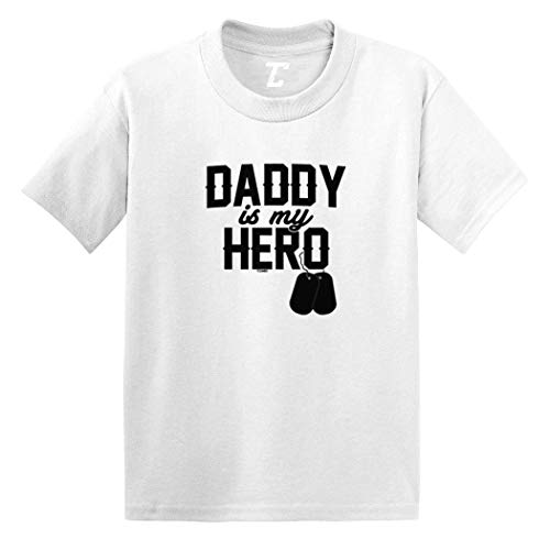 Daddy is My Hero - Military Dog Tags Infant/Toddler Cotton Jersey T-Shirt (White, 5T) (Last Name Property Brothers)