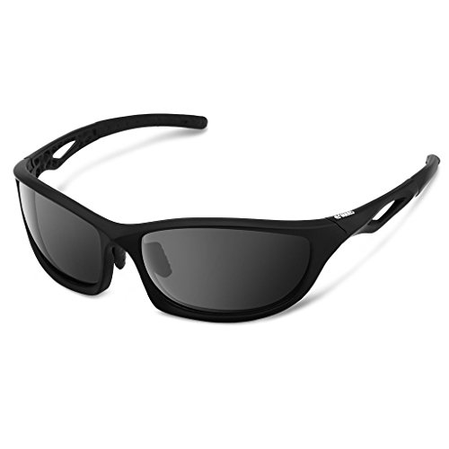 Enkeeo Polarized Sports Sunglasses with TR90 Frame and UV400 Protective Lenses for Men Women Cycling Fishing Driving Hiking, Black