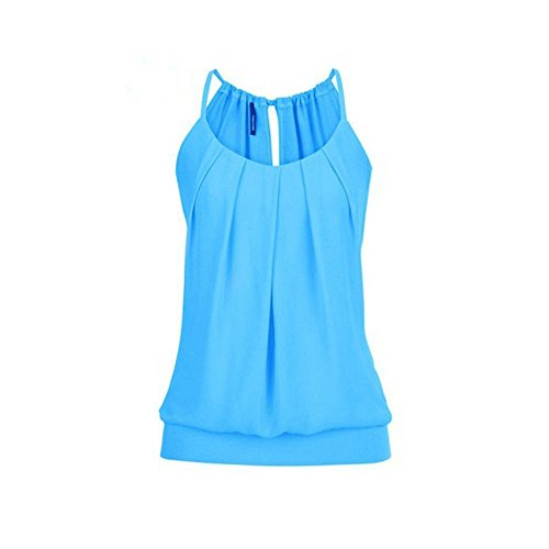 Sunhusing Women's Loose Pleated Round Neck Drawstring Lace-Up Camisole Tank Tops Wrinkled Vest Blue