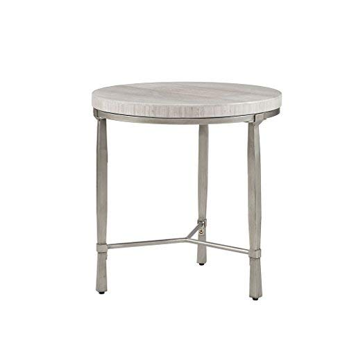 - Madison Park MP120-0640 Reese Accent Round Marble Veneer Top, Metal Base Mid-Century Modern Style End Table, 20