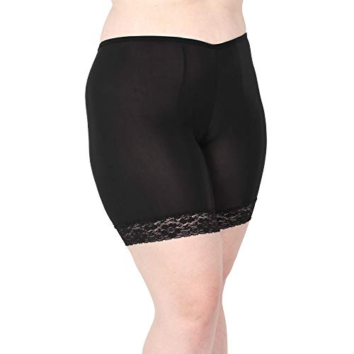 Undersummers Fusion Shortlettes, Short Length: Anti-Chafing Slipshorts with Leg Lace (5X, Black) ()