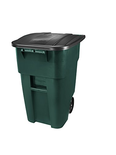 Rubbermaid Commercial Products 1829411 BRUTE Rollout Heavy-Duty Wheeled Trash/Garbage Can, 50-Gallon, Dark Green