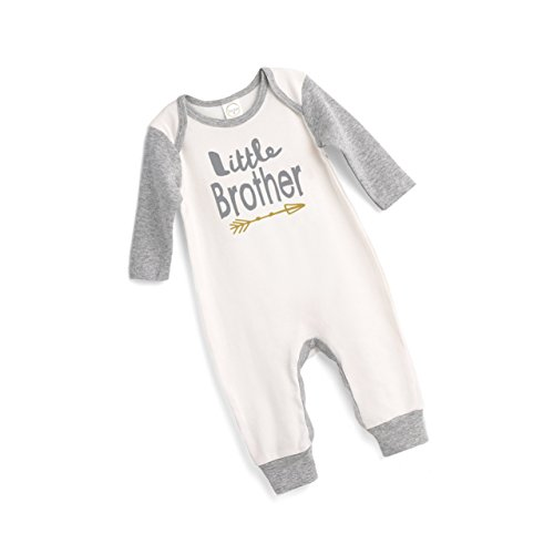 Tesa Babe Little Brother Baby Romper in Ivory with Gray Baseball Sleeves (Newborn)