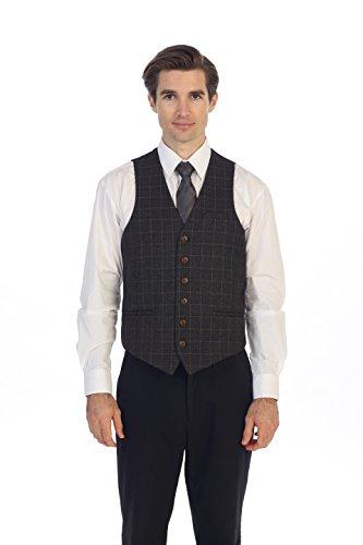 Gioberti Men's 6 Button Slim Fit Formal Herringbone