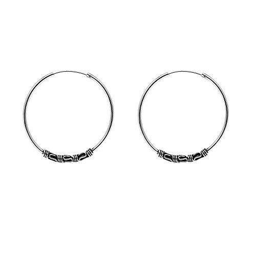 Verona Jewelers Sterling Silver Oxidized Tribal Bali Hoop Earring for Women, Girls- Balinese Silver Hoop Earrings, Endless Tube Bali Hoop Earrings 18MM, 22MM, 30MM (30, Bali 2055)