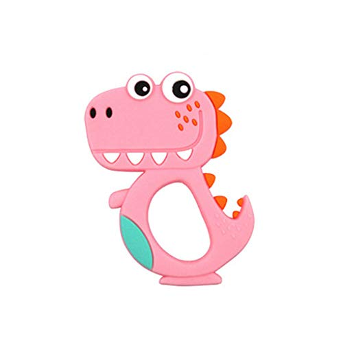ERLOU Educational Toy Dinosaur Kid Baby Teether Food Grade Silicone Soother Chewable Teething Toy Children Cute Boys Girls Gifts (red)]()