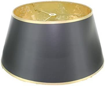 Upgradelights 16 Inch Black with Gold Interior Bouillotte Lamp Shade in a Glossy Black Parchment