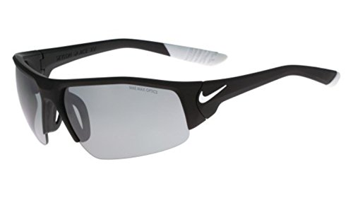 Nike Golf Skylon Ace XV Sunglasses, Matte Black/White Frame, Grey with Silver Flash - Ace Frame