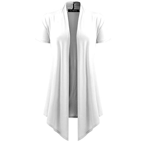 Pretty Cardigan Womens Soft Drape Short Sleeve Smock Sun Wear Blouse Tops White