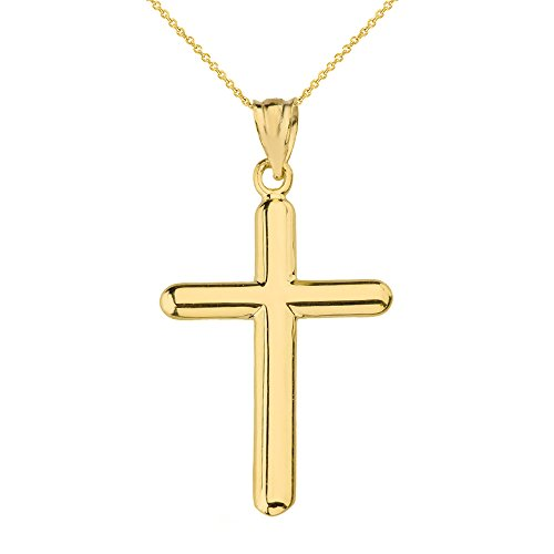 Solid 14k Yellow Gold Plain Beautiful Simple Cross Pendant Necklace, (14k Gold Plain Cross Necklace)