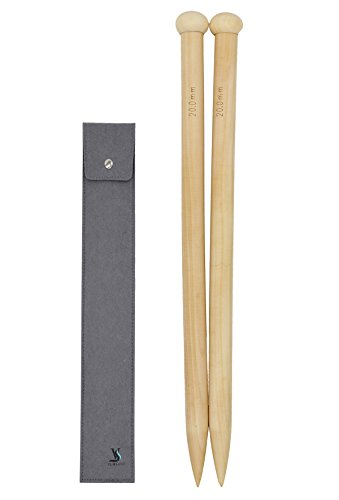 US36 Single Point Needles Wooden for Super Chunky Roving Yarn Knitting (20mm-16inch-40cm)