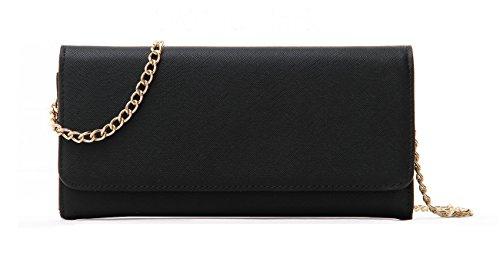 Faux Leather Clutch - Women's Faux Saffiano Bifold Cross Body Clutch Wallet (Black)