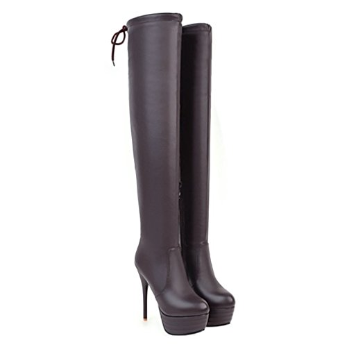 Enmayer Vrouwen Pu-materiaal Over-the-knee Laarzen Rits Schoenen Voor Dames Winterlaarzen Bruin
