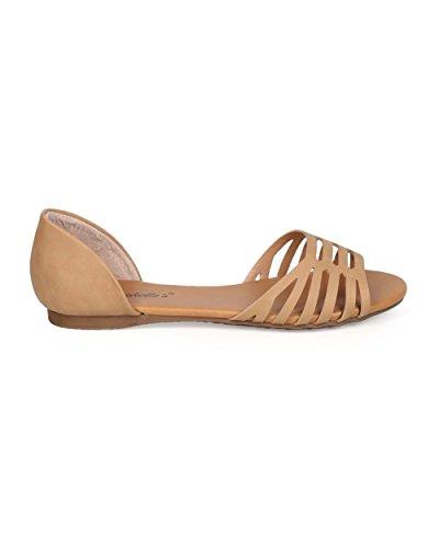 Breckelles Breckelles Ec87 Kvinnor Läder Öppen Tå Dorsay Urholka Sandal Flat Naturliga