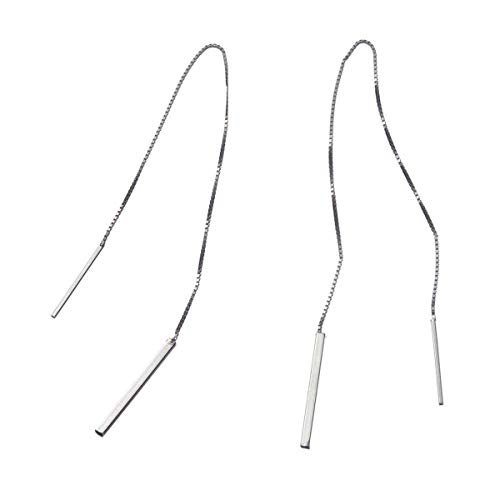 Chain Threader - Sterling Silver 4''-7.5'' Tassel Long Threader Drop Earrings in 0.7mm Box Chain - Platinum or Rose Gold (5'' Silver)