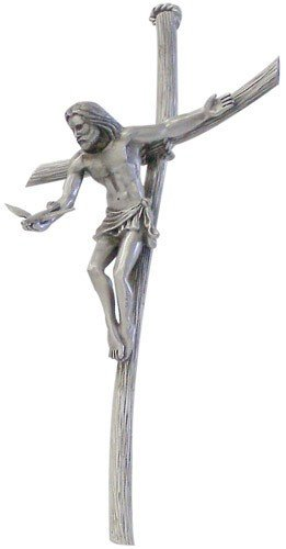 Gift of the Spirit Crucifix Genuine Pewter Wall Cross Jesus with Dove in Hand