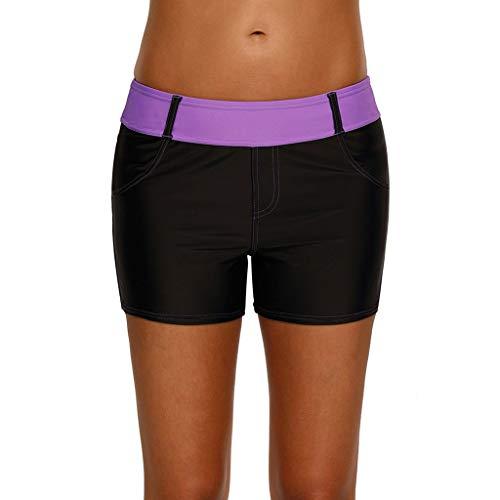 Womens Color Block Waistband Quick Dry Swim Short Board Shorts Swimsuit Bottom Swimwear Trunks (XL, Purple)