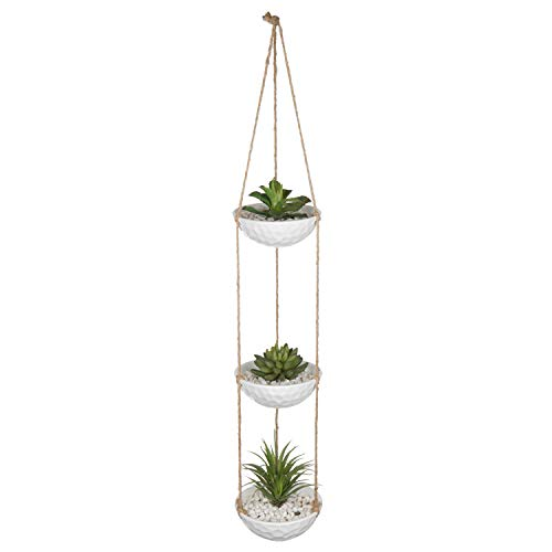 MyGift 3-Tier Hanging Textured White Ceramic Planter Bowl - Bowl Textured Planter