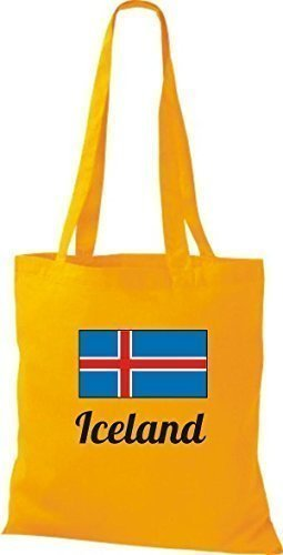 shirtinstyle Tela Bolsa Algodón länderjute Iceland island - fucsia, 38 cm x 42 cm amarillo dorado