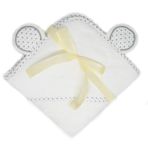 Organic Hooded Baby Towel [35x35 inch] Bamboo Large White Bath towel with Cute Bear Ears - Ultra-Soft, Thick, Hypoallergenic Towel for kids [toddler infant] Unique Baby shower gifts for girls or boys