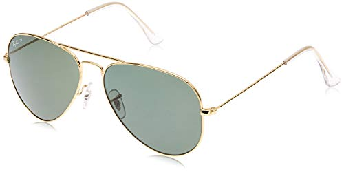 Ray-Ban RB3025 Aviator Large Metal Sunglasses 58 mm, Polarized, Arista Gold/Polarized Crystal Green (Ray Ban Aviator Lenses Glass Or Plastic)