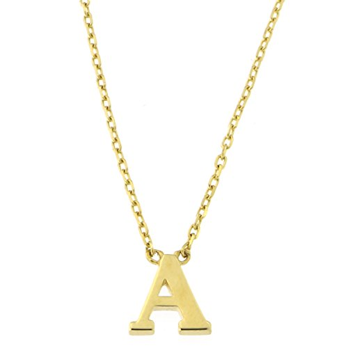 14k Yellow Gold Tiny Initial Pendant Necklace, 16 Inches - A