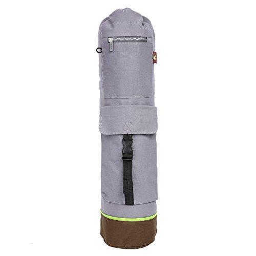 Eshow Canvas Yoga Backpack Durable Organic Yoga Mat Bag Yoga Tote Bag Grey