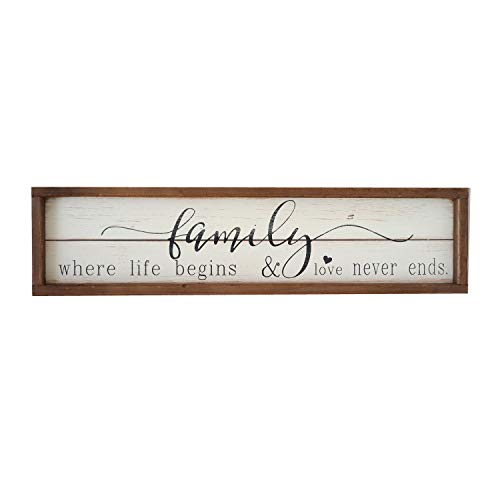 Parisloft Family Where Life Begins & Love Never Ends White Background Wood Framed Wood Wall Decor Sign Plaque 23.6 x 1.2 x 6 inches (Family Where Life Begins) (Signs Decor Home For)