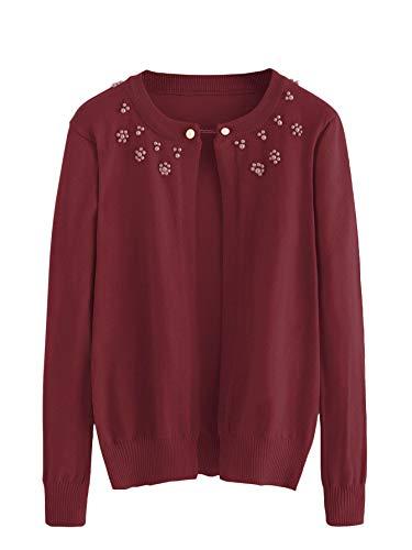 - SweatyRocks Women's Long Sleeve Pearl Beaded Open Front Knit Sweater Cardigan Burgundy XL