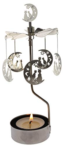 - Mustaner Rotary Candle Holder Spinning Candleholder Metal Small Gift (Moon+cat)
