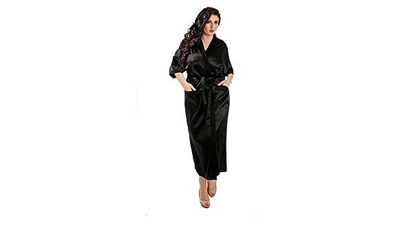 Amazon.com  Sexy Ladies Long Full Length Kimono Satin Robe Dressing Gown  Elegant Black Plus Size 8-28 (Black 4652e7caa