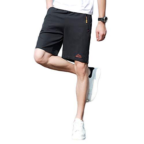 Inwinner Men's Cotton Relaxed Shorts Summer Outdoor Fitness Half Pants with Liner Zip Pockets Dark ()