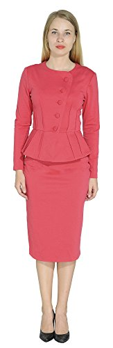 Marycrafts Women's Formal Office Business Shirt Jacket Skirt Suit 6 Red Pink - Womens Roma Jacket