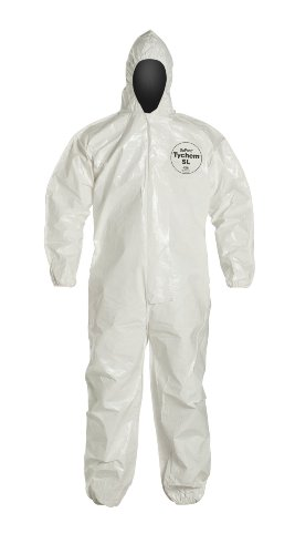 DuPont Tychem 4000 SL127B Disposable Chemical Resistant Coverall with Hood, Elastic Cuff and Bound Seams, White, X-Large (Pack of 12) ()