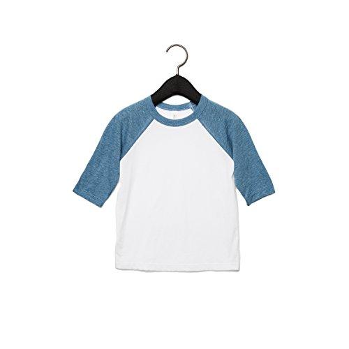 Bella + Canvas Youths 3/4 Sleeve Baseball T-Shirt (S) (White/Denim)
