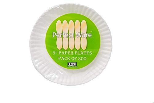 "Perfect Stix Paper Plate 9-1200 Paper Plates White, 9"" ( Case of 1,200), 1"" Height, 9"" Width, 9"" Length (Pack of 1200)"