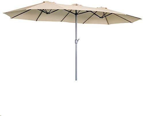Aecojoy 15x9ft Double Sided Patio Umbrella Outdoor Market Umbrella Large Sunbrella Table Umbrellas With Crank Air Vents For Deck Pool Patio Beige Garden Outdoor