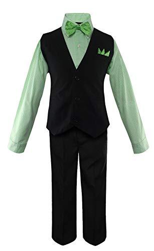 Luca Gabriel Toddler Boys' 5 Piece Vest Shirt Bow Tie Pant and Hanky Set - Green/Black - -