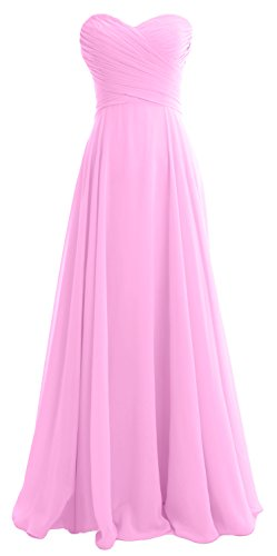 MACloth Women Strapless Pleated Chiffon Long Bridesmaid Dress Wedding Party Gown Rosa