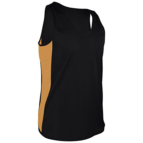 TR-980-CB Men's Performance Athletic Light Single Ply Track Singlet with Side Panels (Medium, Black/Gold)