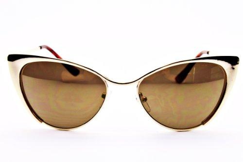 E16-vp Style Vault Cateye Sunglasses (Varv Metal Gold-Brown Mirror, clear)