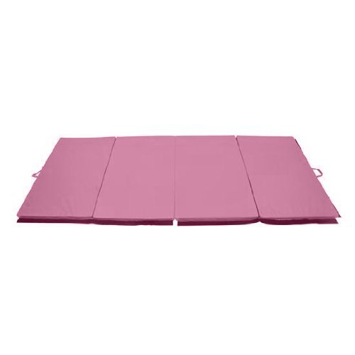 Soozier PU Leather Gymnastics Tumbling/Martial Arts Folding Mat, Pink, 4 x 6' x 2