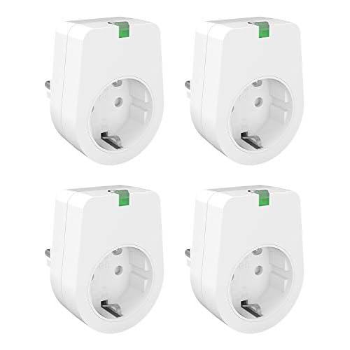 chollos oferta descuentos barato Enchufe Inteligente WiFi Lunvon Smart Plug Toma de Interruptor Remoto Inteligente Inalámbrico Compatible con Google Home No se requiere Hub Función de Temporizador 2000W 4 Pack